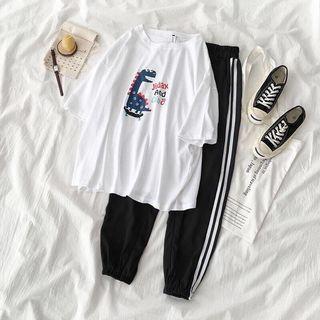 Carmenta - 套装: 中袖卡通印花T裇 + 条纹边哈伦裤