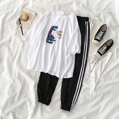 Carmenta - 套裝: 中袖卡通印花T裇 + 條紋邊哈倫褲