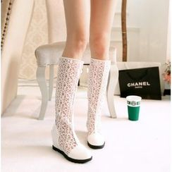 Shoes Galore - Mesh Hidden Wedge Tall Boots