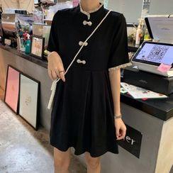 Rorah - Mandarin Collar Ruffle Trim Short-Sleeve Mini A-Line Dress