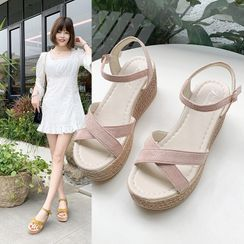 Moonlit Valley - Platform Wedge Heel Espadrille Sandals