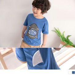 OrangeBear - Kids Shark Print Short-Sleeve T-Shirt