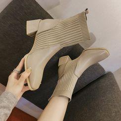 Anjay - 針織拼接粗跟短靴