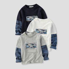 Happy Go Lucky - Kids Mock Two-Piece Camo Panel T-Shirt