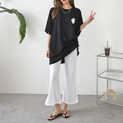 PPGIRL - Drop-Shoulder Flower Printed T-Shirt