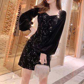 UNiLady - Long-Sleeve Sequined Mini A-Line Velvet Dress