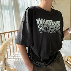 NANING9 - 'WHATEVER' Letter T-Shirt