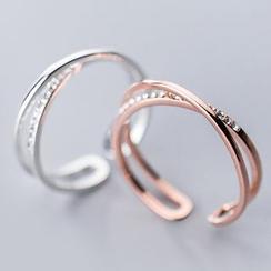 A'ROCH - 925純銀水鑽多層開口戒指