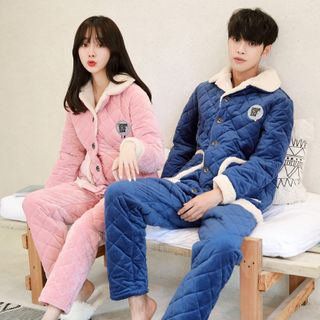 Endormi - Couple Matching Pajama Set: Quilted Jacket + Pants