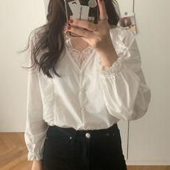 JOWI - 喇叭袖蕾丝边衬衫