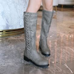 Shoes Galore - Faux Leather Lace-Up Side Tall Boots