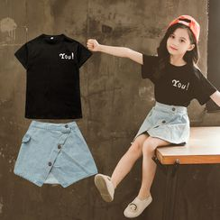 Qin Qin - Set: Kids Lettering Short-Sleeve T-Shirt + Denim Mini A-Line Skirt