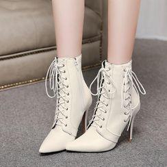 Freesia - 系带尖头高跟及踝靴