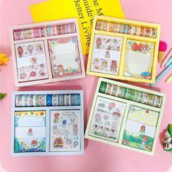 Eranso - Set: Cartoon Print Masking Tape + Sticker + Memo Pad