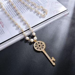 Jemai - 钥匙吊坠仿珍珠吊坠项链