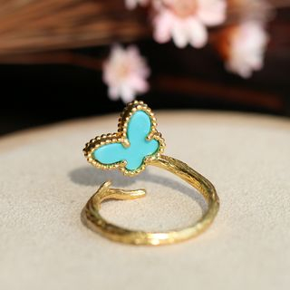 Kanzashi - Turquoise Butterfly 925 Sterling Silver Ring