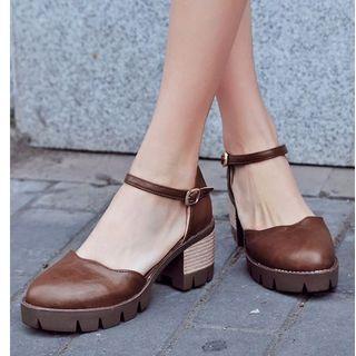 Freesia - Block-Heel Platform Ankle Strap Sandals