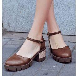 Freesia - 粗跟厚底踝带凉鞋