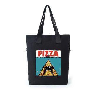 Lozynn - 披薩印花帆布購物袋