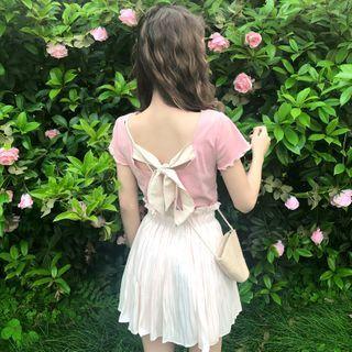 Sisyphi - Ruffle Trim Short-Sleeve T-Shirt / Pleated A-Line Skirt