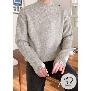 JOGUNSHOP - Mock-Neck Colored Wool Blend Knit Top