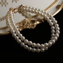 Langinara - Faux Pearl Layered Choker