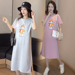 Hearty Bliss - Maternity Short-Sleeve Dog Print T-Shirt Dress