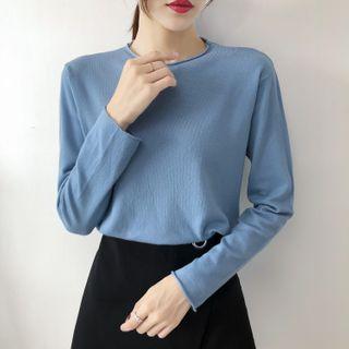 Carmenta - 長袖純色針織上衣