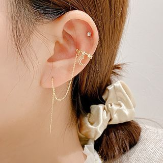 LIVSIA - Moon and Stars Chained Cuff Earring