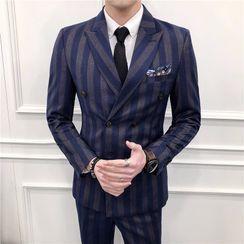 Epir - Set: Striped Blazer + Vest + Dress Pants