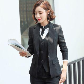 Princess Min - 条纹西装外套 / 马甲 / 西裤 / 迷你裙 / 长袖衬衫