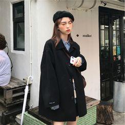 Iduna - Plain Button-Up Woolen Coat