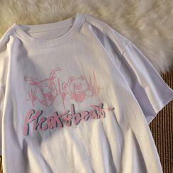 Honey River - Short-Sleeve Bear Print T-Shirt