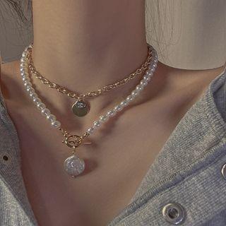 Poppin - 仿珍珠多层项链