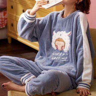 Jeony - 家居服套裝: 長袖卡通印花上衣 + 長褲