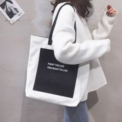 Miloes - Color-Panel Lettering Canvas Tote Bag