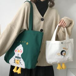 Geolte(ジオルテ) - Duck Embroidered Canvas Tote Bag