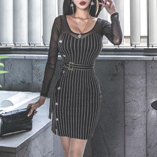Yilda - 长袖条纹迷你塑身连衣裙