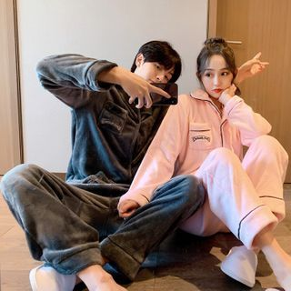 Endormi - Couple Matching Pajama Set: Letter Embroidered Fleece Shirt + Pants