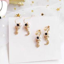 Teeny Trendy - Faux Pearl Alloy Moon & Star Dangle Earring