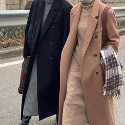 Jesong - 雙排扣抓毛長款大衣