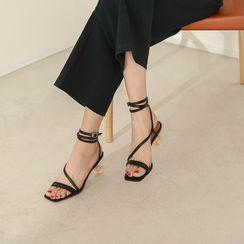 Kireina - Genuine Leather Ball Heel Sandals