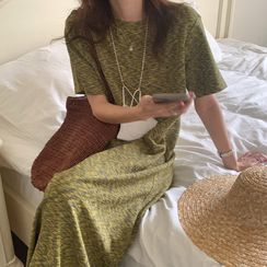 Windcatcher - 短袖混色寬鬆開衩連衣裙