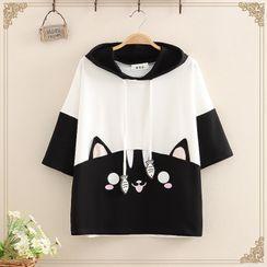 Kawaii Fairyland - Cat Print Color-Block Short-Sleeve Hoodie