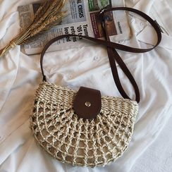 BAGUS - Woven Saddle Crossbody Bag