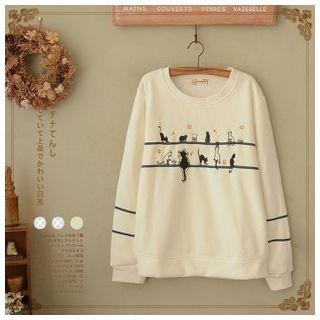 白金天使 - 猫刺绣套衫