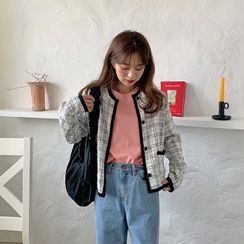 FROMBEGINNING - Piped Plaid Tweed Cardigan