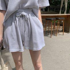 Cherryville - Drawstring-Waist Textured Shorts