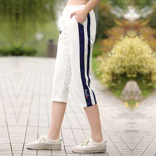 YICON - 側條紋七分褲