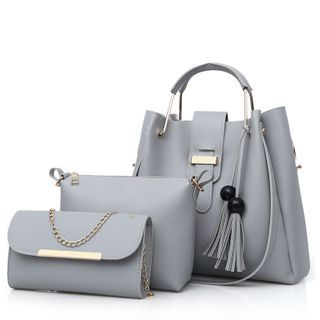 Selinda - Set: Faux Leather Shoulder Bag + Crossbody Bag + Chained Clutch